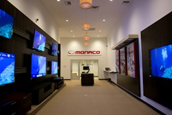 Monaco TV wall with the fiber optic Crestron Digital Media