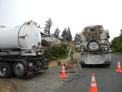 Flood grouting tanker trucks.