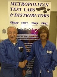NJMET's J Federico and G Valentin in front of an NJ MET banner at NJ MET's headquarters in Clifton, NJ