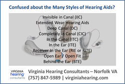 Hearing Aid Style Guide from Virginia Hearing Consulatants of Norfolk VA