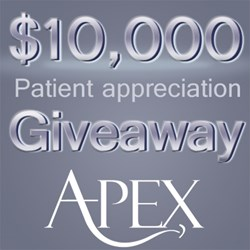 Apex Dental, Utah based dental company serving patients in Salt Lake City, Murray, Draper, Riverton, Stansbury Park and Tooele County, will be giving away $10,000 in their patient appreciation giveaway 2013.