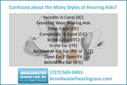 Hearing Aid Style List from Broadwater Hearing Care of St. Petersburg FL