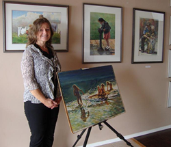 Martina Zuidema in her ocean cottage studio on the Sunshine Coast Art Crawl