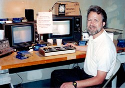 Rob Henninger (c. 1998) with some of the original Beta I equipment that launched Henninger Video in 1983.