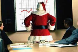 Santa, debt, christmas, commercialism, consumerism, materialism, shopping