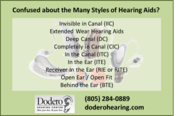 Hearing Aid Type List from Dodero Hearing Center of Santa Barbara CA