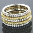 18K Platinum Natural Canary Diamond Eternity Ring 2.17