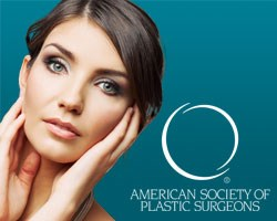 Woman resting her hands on her face and the American Society of Plastic Surgeons logo