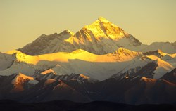 April to early June is the best time to view the Mount Everest at the Base Camp in Tibet. The sunrise or sunset makes the Everest an amazingly beautiful golden peak.