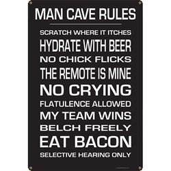KegWorks Man Cave Rules Metal Bar Sign
