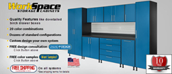 GarageCabinets.com presents Work Space storage cabinets