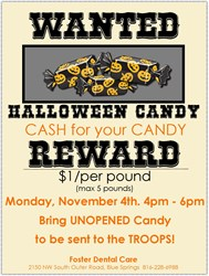 Blue Springs Dentist, Foster Dental Care, is hosting a Candy Buy Back for Operation Gratitude