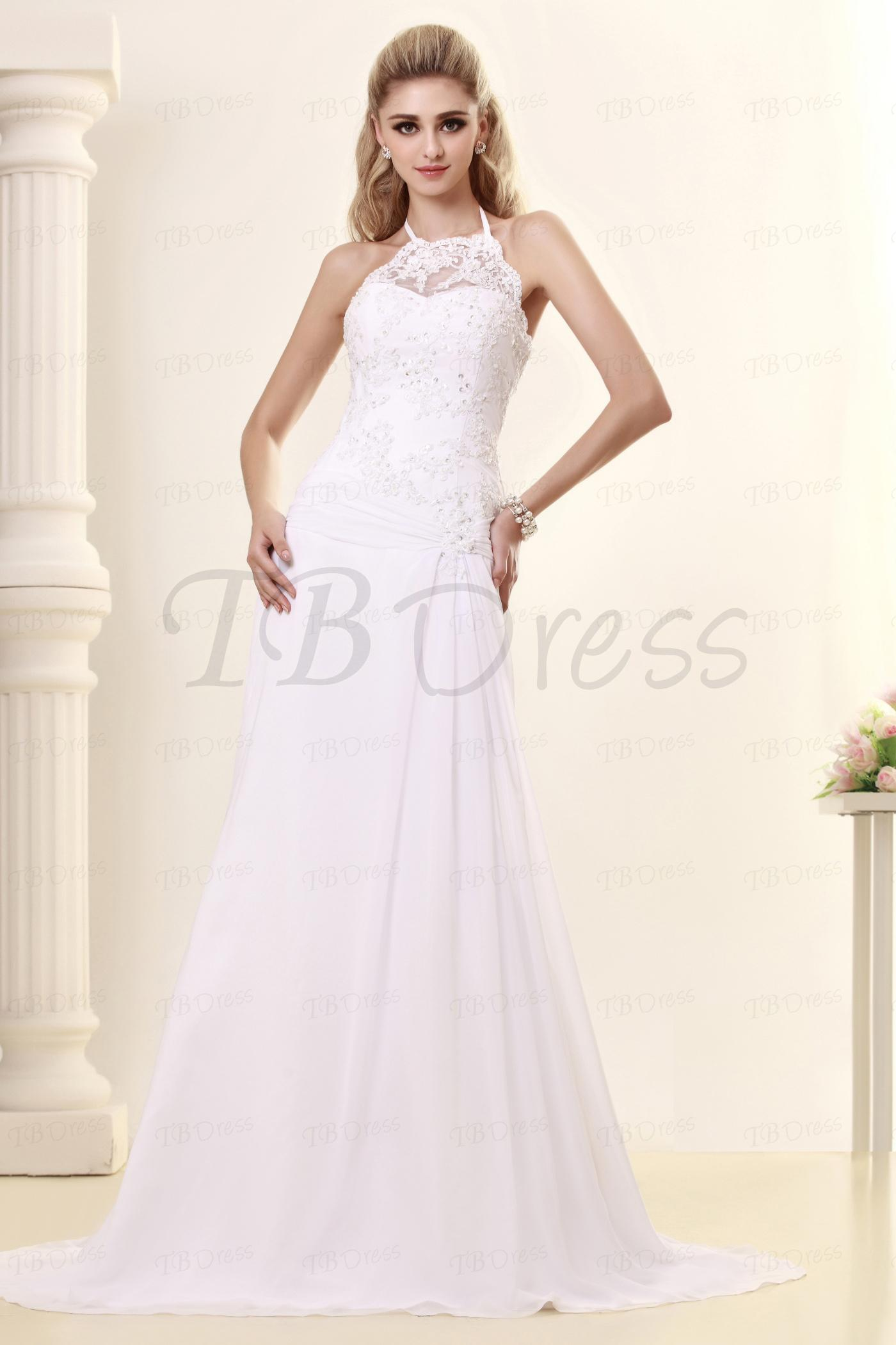 Sleeveless High Neck Wedding Dress