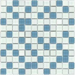 Glass Mosaic Tile Frozen Yogurt White Blue