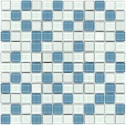 Glass Mosaic Tile Frozen Yogurt White Blue