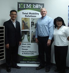 Councilmember Chu with Virgil and Julie Moore of 101 Mobility San Jose
