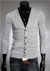3-Ruler Men's Casual Deep-V Solid Button Front Slim Fit Cardigans-Light Grey