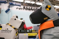 """Behind the Design of a Crash Test Dog"" features two Sleepypod crash test dog designs: MAX and DUKE."