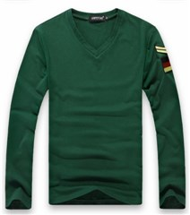 3-Ruler Men's Casual Dark Green V-Neck Embroidery Shoulder Board Patch Long Sleeves Shirt