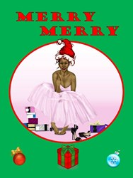 Black Pinup Girl Christmas Card