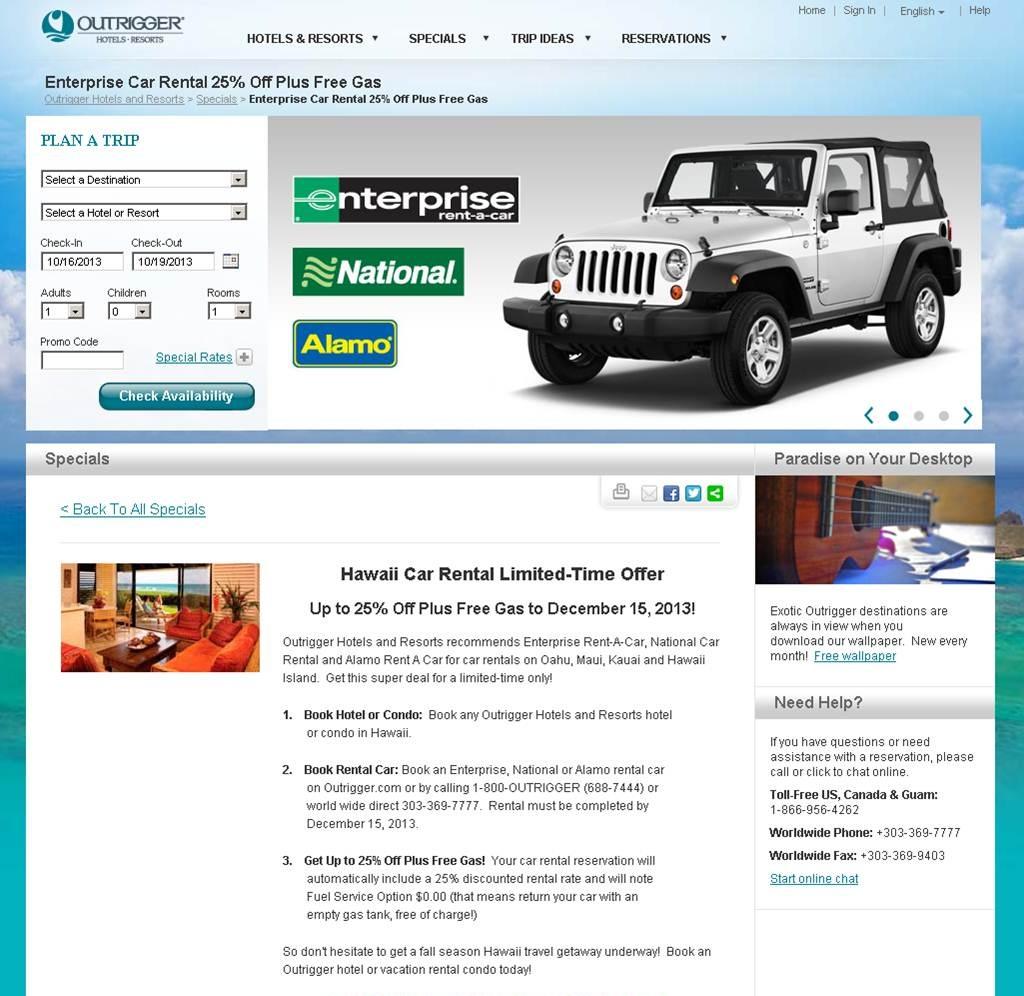 Enterprise Rent A Car Home: Outrigger Enterprises Group Selects Enterprise Holdings As