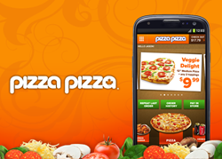 Pizza Pizza's new Android app home page allows you to browse the menu, view deals, and repeat your favorite orders.