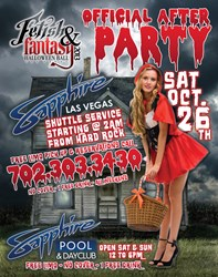 Sapphire Hosts Fetish & Fantasy Official After Party on Saturday, October 26th beginning 2am and going all weekend long.