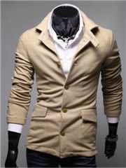 3-Ruler Men's Khaki Single Breasted Napping Lining Turndown Collar Small Jacket