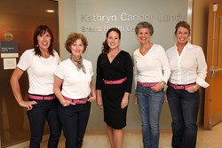 Susquehanna Health Breast Health Center team wears pink Tory Leather breast cancer belt.