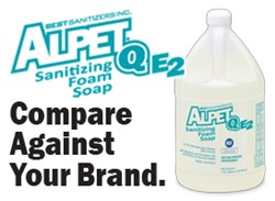 Alpet Q E2 Sanitizing Foam Soap, Best Sanitizers, Sanitizing Hand Soap for Food Processing