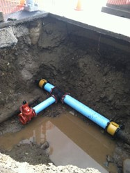 Underground pipe after leak is fixed.