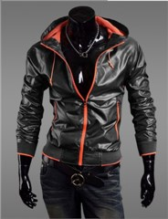 3-Ruler Men's Casual Black Fluorescence Orange Jacket Outerwear with Hood