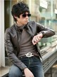 3-Ruler Men's Classic Brown Slim Fit Rider Zip Stand Collar Faux Leather Jacket