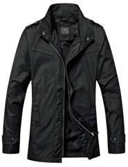 3-Ruler Men's Cheap Solid Black Funnel Full Zip Fly Nylon Trench Coat
