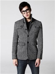 3-Ruler Multiple Pockets Single-breasted Stand Collar Slim Fit Small Tweed Coat