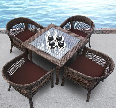Tosh Furniture 5 Piece Brown Wicker Dining Set Tos Gw3079set