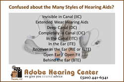 Hearing Aid Type List from Adobe Hearing Center of Tucson AZ