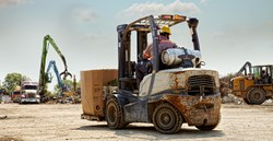 Forklift at Gold Metal Recyclers' metal recycling facilities in Dallas