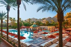 Poolside resort overlooking the mountains in Indian Wells, CA