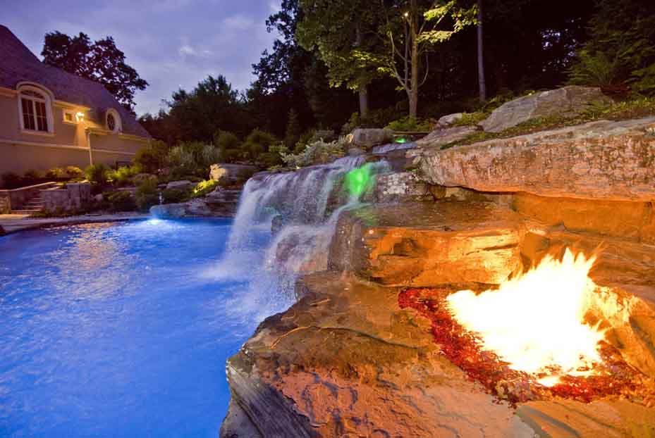 inground swimming pool design bergen county njinground swimming pool design with waterfall and fire pit design bergen county nj