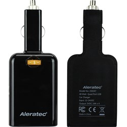 Aleratec-Quad-4-Port-USB-9.6-Amp-Rapid-Car-Charger-for-iPhones-Smartphones,-iPads-and-Tablets