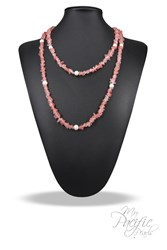 pink tourmaline and pearl necklace and bracelet