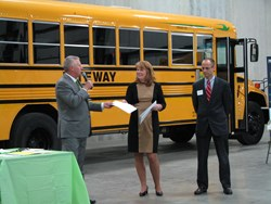 Ron Bast, president of GO Riteway, discusses the benefits of propane autogas with Dr. Sara Burmeister, Oak Creek school superintendent, and Frank Carini, school board president, at an open house on October 23rd.