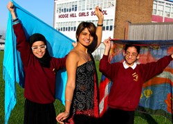 Sunita with pupils from the bollywood dancing lessons