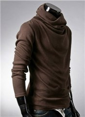 3-Ruler Men's Coffee Solid Color High Neck Bottoming Shirt Thin Cardigan