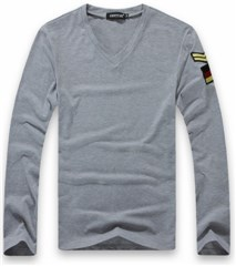3-Ruler Men's Casual Gray V-Neck Embroidery Shoulder Board Patch Long Sleeves Shirt