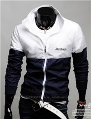 3-Ruler Men's Polyester Two Tone Color White and Navy Blue Embroidery Jacket Outerwear
