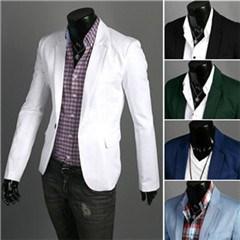 NIMUR Men's Casual Pure Color Cotton Suit