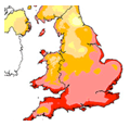 The UK Met Office's map showing solar irradiance across the country