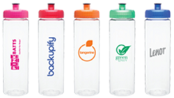 Colorful water bottles with custom logos